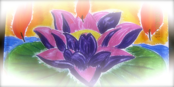 Lotus Fire. My early experimentation with using chalk pastels. I *did* have a lotus flower picture to copy from ;)