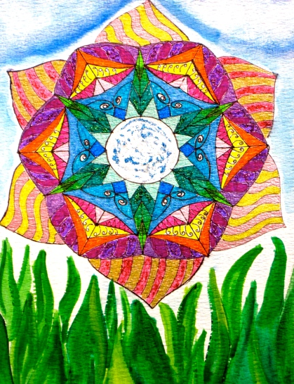 Sun flower : Marker pens, coloured pens, watercolours (Original)