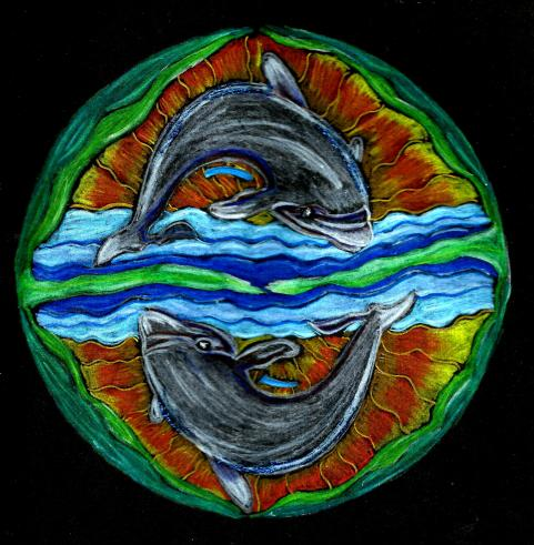 Dolphins: Colour pencils (Original)