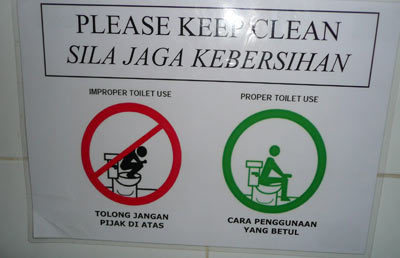 In my country, we need diagrammatic signs to show someone how to use the toilet.