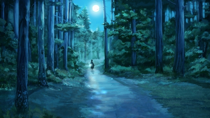 trees forest moon path fantasy art lamps roads fireflies artwork drawings 1920x1080 wallpaper_www.wallpaperhi.com_26